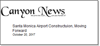 Article Santa Monica Airport Construction, Moving Forward