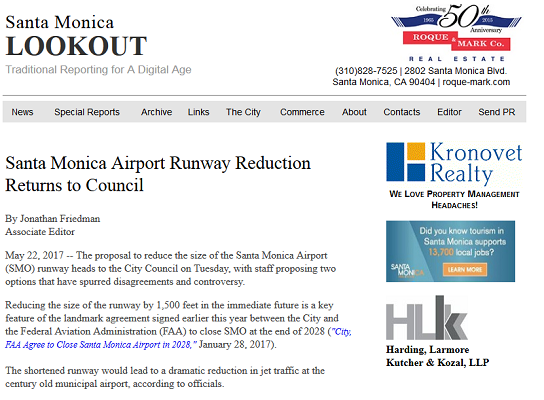 Article Santa Monica Airport Runway Reduction Returns to Council