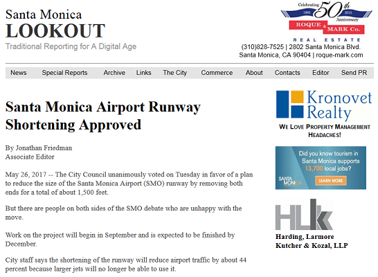 Article Santa Monica Airport Runway Shortening Approved