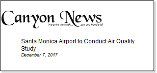 Article Santa Monica Airport To Conduct Air Quality Study