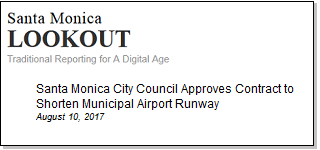 Article Santa Monica City Council Approves Contract to Shorten Municipal Airport