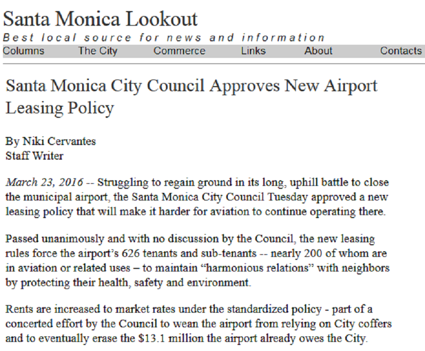 Article Santa Monica City Council Approves New Airport Leasing Policy