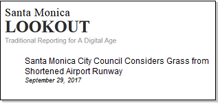 Article Santa Monica City Council Considers Grass for Shortened Airport Runway