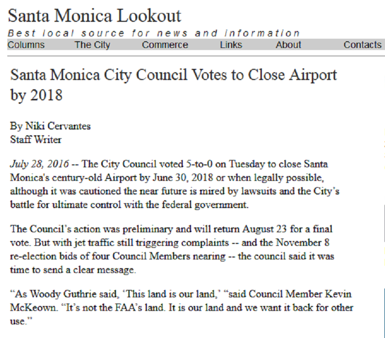 Article Santa Monica City Council Votes to Close Airport by 2018