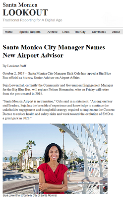 Article Santa Monica City Manager Names New Airport Advisor