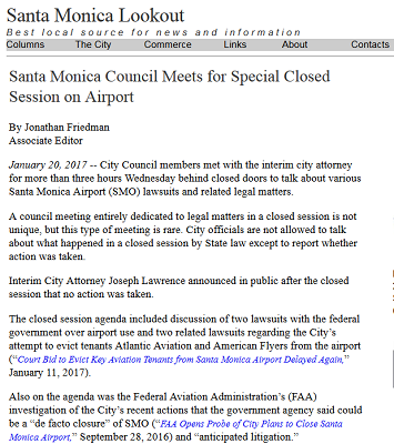 Article Santa Monica Council Meets for Special Closed Session on Airport