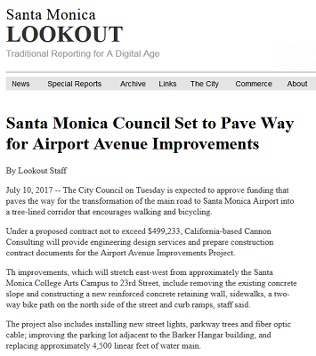 Article Santa Monica Council Set to Pave Way for Airport Avenue Improvements