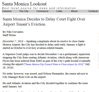 Article Santa Monica Decides to Delay Court Fight Over Airport Tenant's Eviction