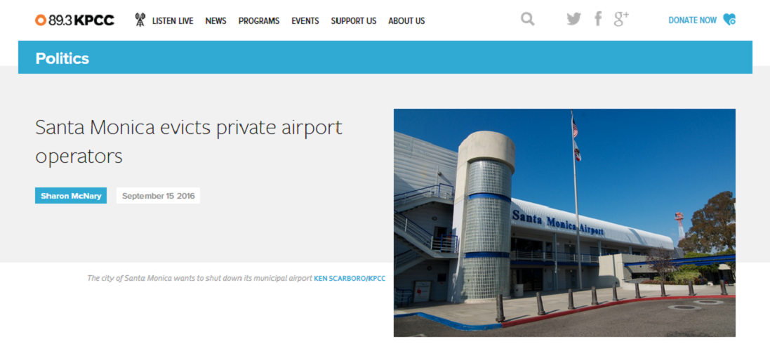 Article Santa Monica Evicts Private Airport Operators