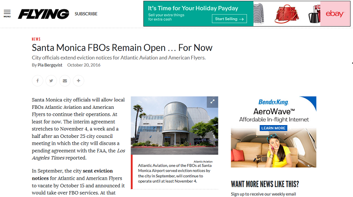 Article Santa Monica FBOs Remain Open...For Now
