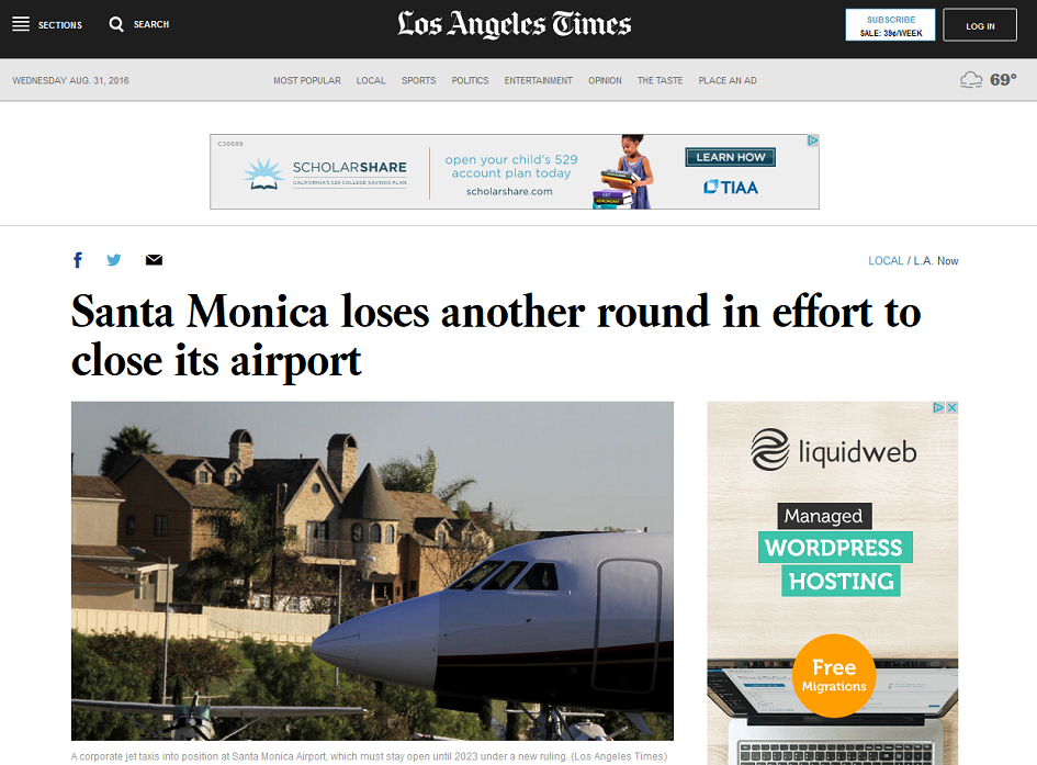Article Santa Monica Loses Another Round in Effort to Close Airport