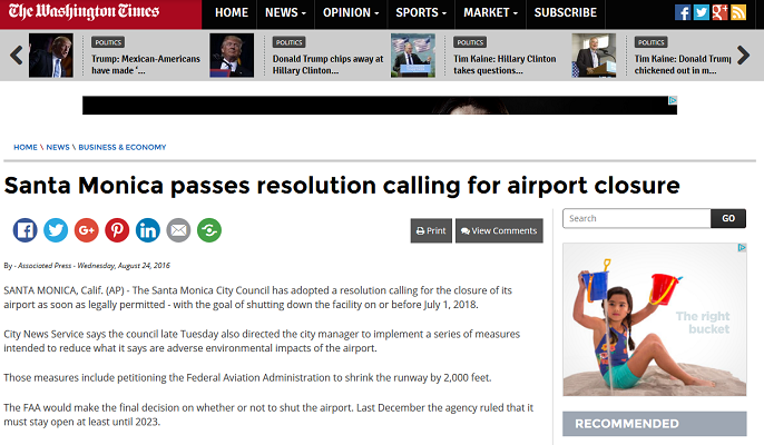 Article Santa Monica passes resolution calling for airport closure