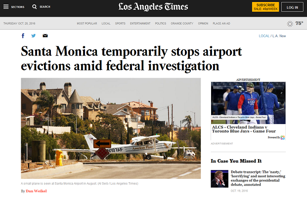 Article Santa Monica Temporarily Stops Airport Evictions Amid Federal Investigation