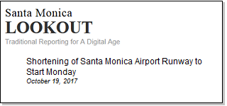 Article Shortening of Santa Monica Airport Runway to Start Monday