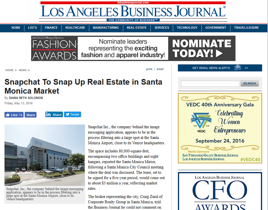 Article Snapchat to Snap Up Real Estate in Santa Monica Market