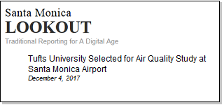 Article Tufts University Selected for Air Quality Study at Santa Monica Airport
