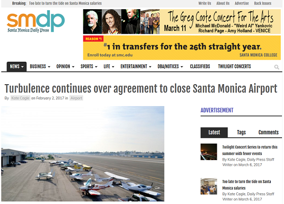 Article Turbulence continues over agreement to close Santa Monica