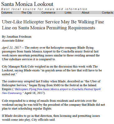 Article Uber-Like Helicopter Service May be Walking Fine Line on Santa Monica Permitting Requirments