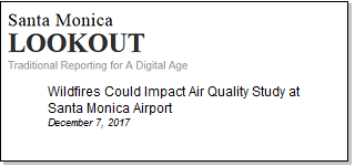 Article Wildfires Could Impact Air Quality Study at Santa Monica Airport