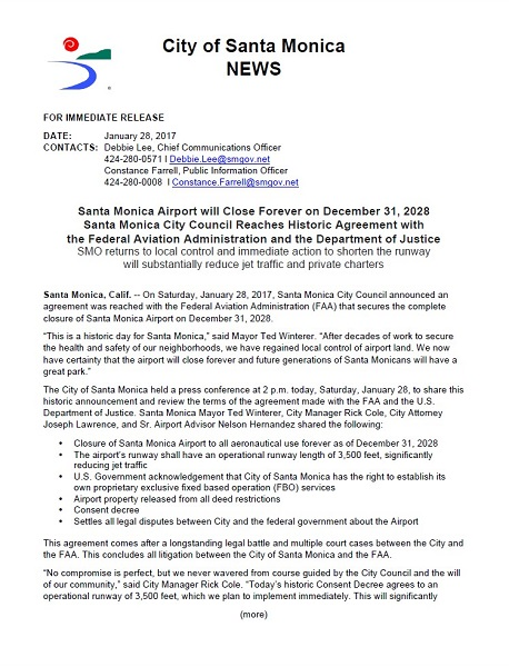 01.28.2017 City of Santa Monica Approves Consent Decree Media Advisory