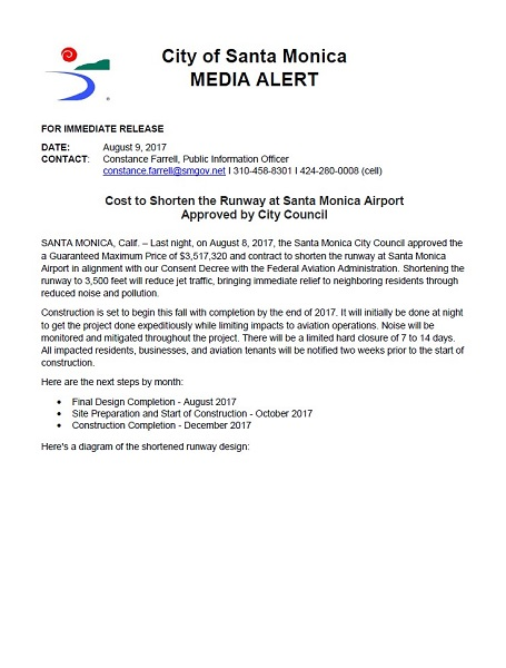 Runway Shortening Media Advisory