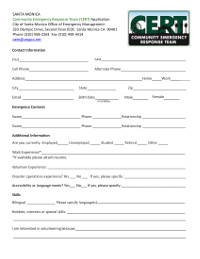 CERT Volunteer Application fillable