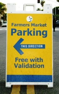 Sunday Farmers Market Parking Directional Sign
