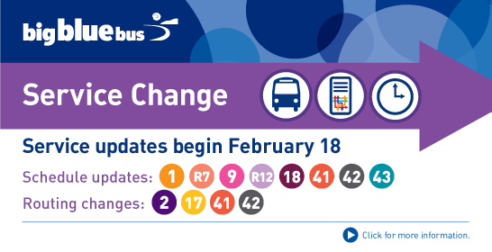 Big Blue Bus Service Change February 18th